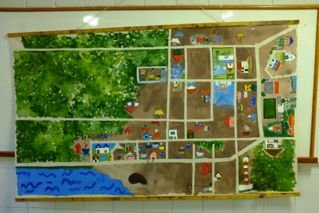 A map of Regencia, created by the elementary school students before the mine spill.