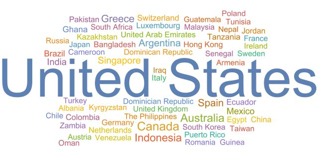A word cloud of all the countries where students participate in Out of Eden Learn from. There are sixty countries total.