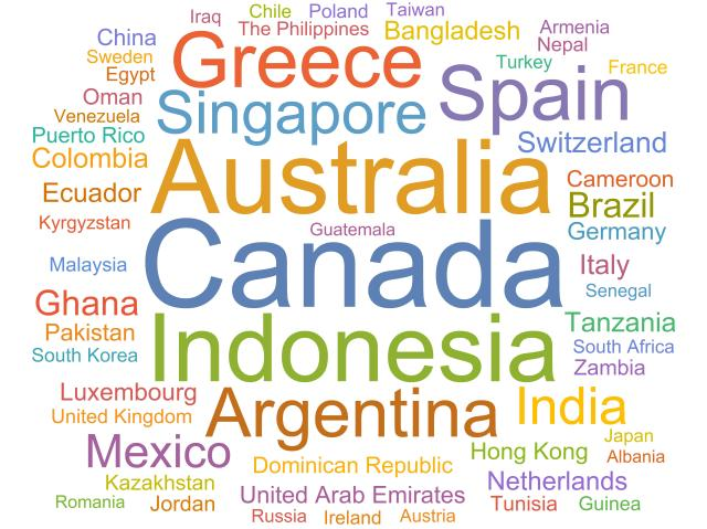 A word cloud of the countries where students participate in Out of Eden Learn from, excluding the United States.